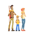 Family Of Three Ready For Hike vector image vector image