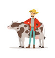 farmer man caring for his cow farming and vector image