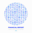 financial report in circle thin line icons vector image vector image