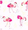 flamingo and confetti tropical seamless pattern vector image vector image