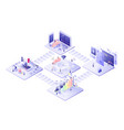 flat isometric business online concept vector image vector image