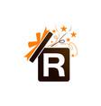 gift box ribbon letter r vector image vector image