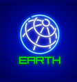 globe planet earth neon icon vector image vector image