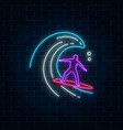 glowing neon sign of surfer in ocean wave on dark vector image vector image