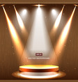 gold stage with spotlight and star on wood vector image vector image