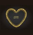 golden glitter heart frame with sparkles vector image
