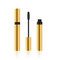 golden realistic mascara tube with brush vector image
