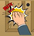 hand knokning door pop art vector image vector image