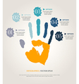Hand print with numbers vector image vector image