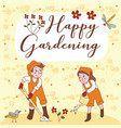 happy gardening cute couple greeting card vector image vector image