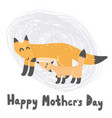 happy mother s day card with cute foxes vector image vector image