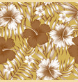 hibiscus brown palm leaves gold background pattern vector image vector image