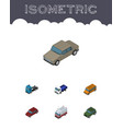 isometric transport set of lorry first-aid truck vector image vector image