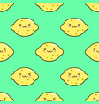 lemon smiley kawaii cartoon character seamless vector image
