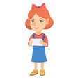 little caucasian girl using a tablet computer vector image vector image