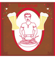 man cooking on his barbecue invitation vector image vector image
