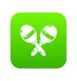 maracas icon green vector image