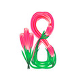 march 8 eight of flowers on vector image
