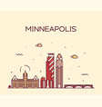 minneapolis city skyline minnesota usa city vector image vector image