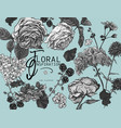 monochrome vintage floral greeting card vector image vector image