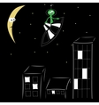 Night city and alien on spaceship over him vector image vector image