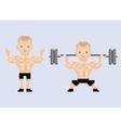 Pixel art character athlet bodybuilder lifting vector image vector image