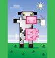 pixelated cow drinking milk cartoon vector image