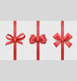 red ribbon bows vertical silk ribbon with vector image vector image