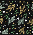 seamless pattern with branches christmas tree vector image