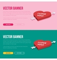 set 2 love banners for web development vector image vector image