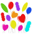 set of flat colored isolated balloons vector image vector image