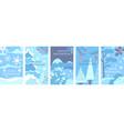 set winter landscape backgrounds flat vector image vector image