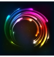 Shining rainbow neon lights circle frame vector image vector image