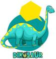 sticker template with dinosaur brachiosaurus vector image vector image