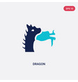 two color dragon icon from asian concept isolated vector image