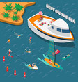 water sports isometric people concept vector image vector image