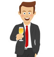 young businessman toasting with glass of champagne vector image