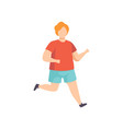 young fat man running obesity man wearing sports vector image vector image