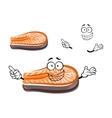 Funny cartoon salmon fish slice vector image