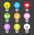idea lamp colorful icon set flat style vector image