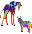 with the image the giraffe and zebra vector image