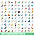 100 web development icons set isometric 3d style vector image