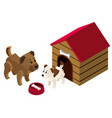 3d design for pet dogs in doghouse vector image vector image