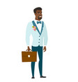 african-american groom holding briefcase vector image vector image