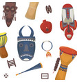african symbols masks totem and drums africa vector image