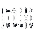 archery sport icons set simple style vector image vector image