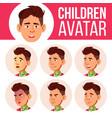 asian boy avatar set kid high school face vector image vector image