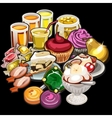 Big set of juices candy desserts vector image