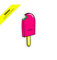bitten ice cream on a stick with distorted smile vector image