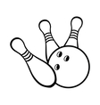 Black and white bowling ball with pins vector image vector image